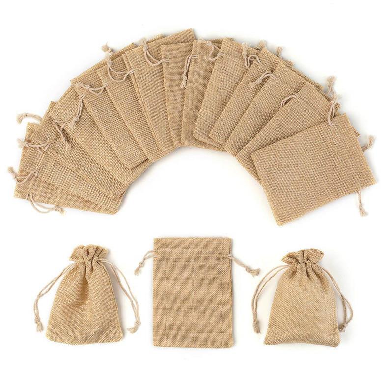 厂家定制麻布袋仿麻抽绳束口袋子收纳束口袋礼品麻布袋可定制LOGO