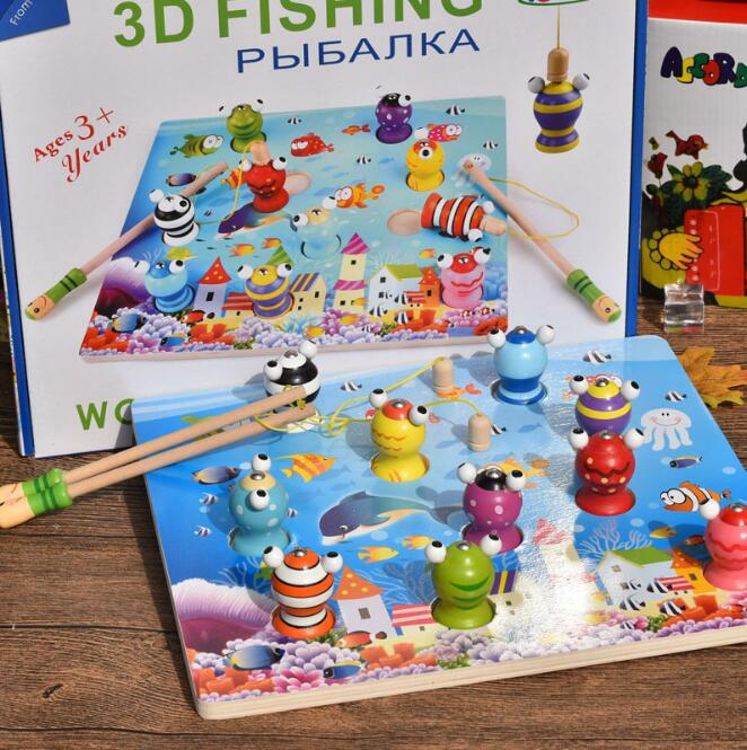 钓青蛙 3D立体钓鱼钓蛙游戏 早教儿童磁性 婴儿童宝宝玩具益智