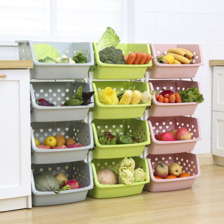 厂家直销小号多层可叠加果蔬篮 塑料厨房沥水篮 家用整理置物架