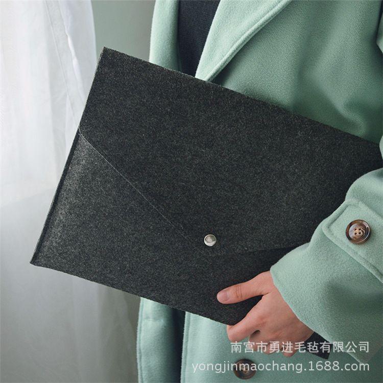 防水毛毡加厚立体手提资料袋按扣式磨砂会议文件包办公包定制