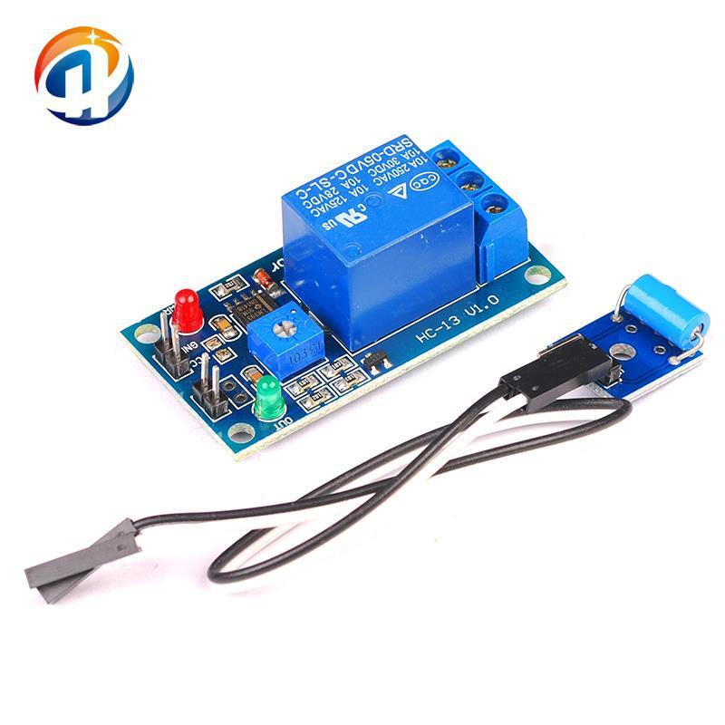 5V 常闭型 振动传感器 加继电器二合一模块 报警触发震动模块