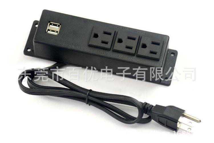 美式家具带USB插座 美规UL认证酒柜橱柜明装插排 桌面接线插板