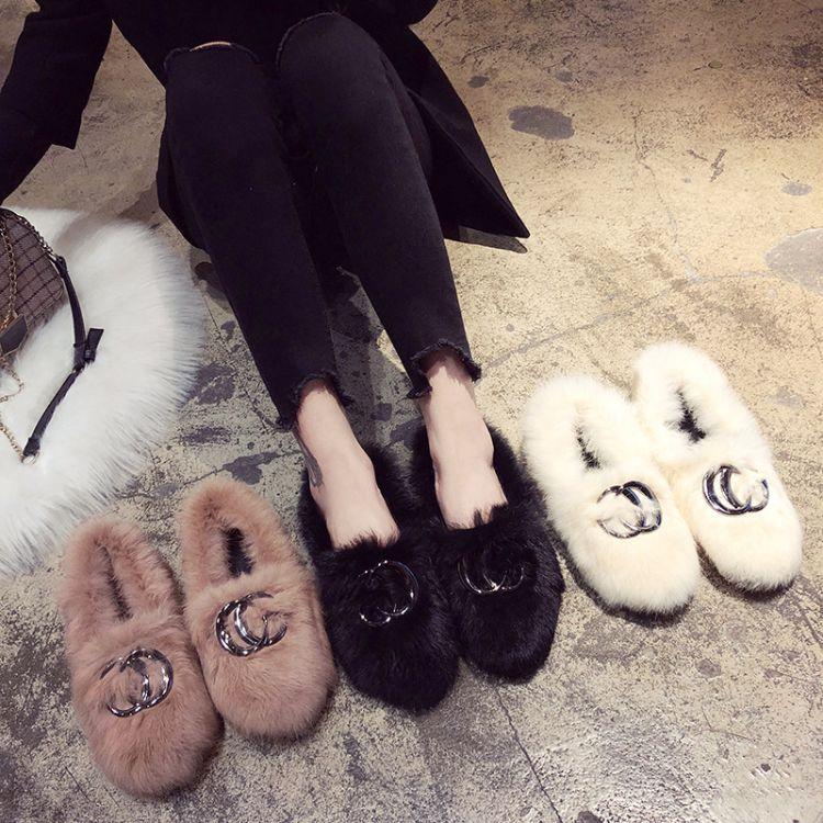 洋气毛毛鞋女平跟保暖舒适百搭家居鞋时尚百搭软底防滑棉拖鞋女潮