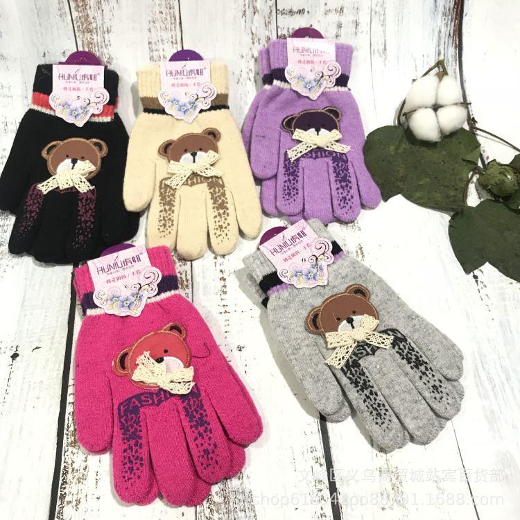 虎妞小熊女士单层毛线手套女士毛线手套批发冬季保暖手套毛绒手套