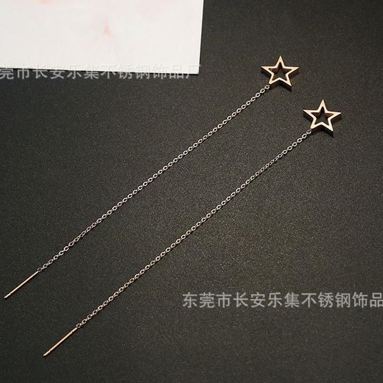 韩国个性钛钢长款线形五角星星女耳环耳线百搭防过敏彩金耳钉耳坠