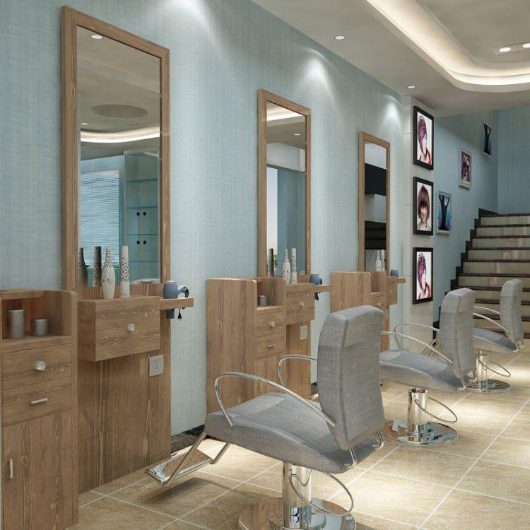 厂家直销创意复古实木理发镜台 定制美发镜台发廊专用理发店镜子