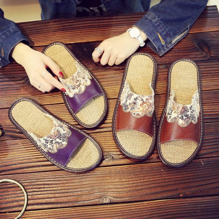 居家用室内防滑木地板亚麻真牛皮拖鞋绣花情侣男女家居夏季凉拖鞋