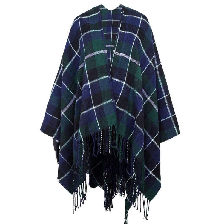 外贸欧美双面仿羊绒披肩 秋冬格子围巾长流苏