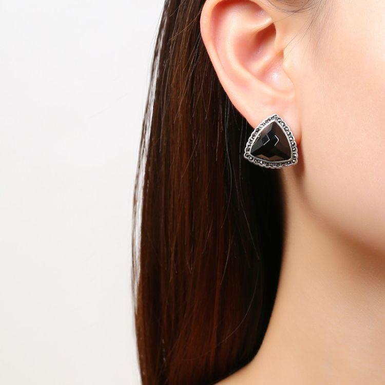 戴沣源美珠宝复古镶嵌做旧纯银S925女士耳扣