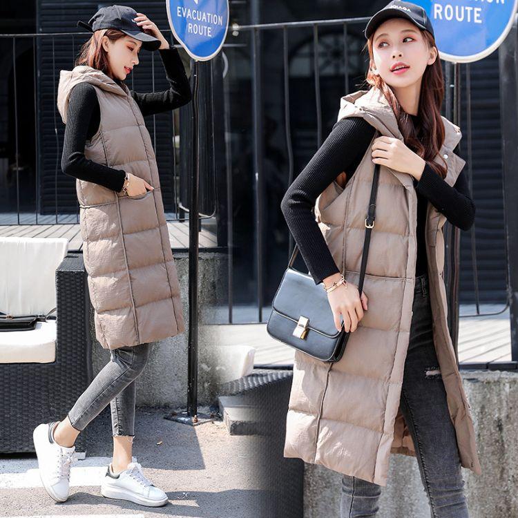 2018年冬季中长款单排扣连帽纯色保暖舒适简约马甲