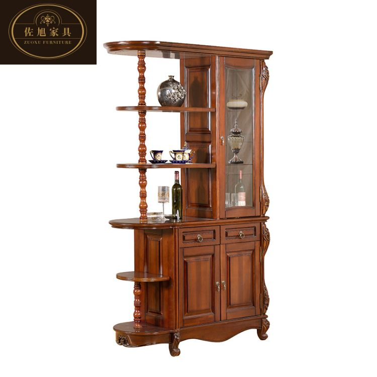 新款高档红木色间厅柜 欧式复古实木屏风酒柜直销 佐旭客厅家具