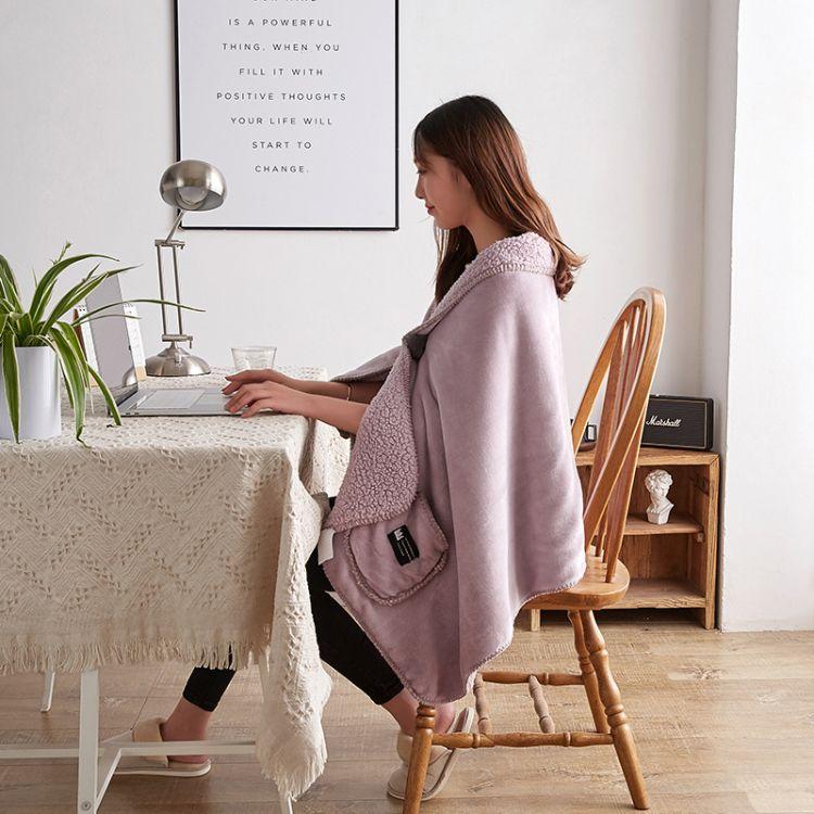 新款多功能羊羔绒毯子 懒人毯 纯色盖毯 保暖办公室午睡披肩毯