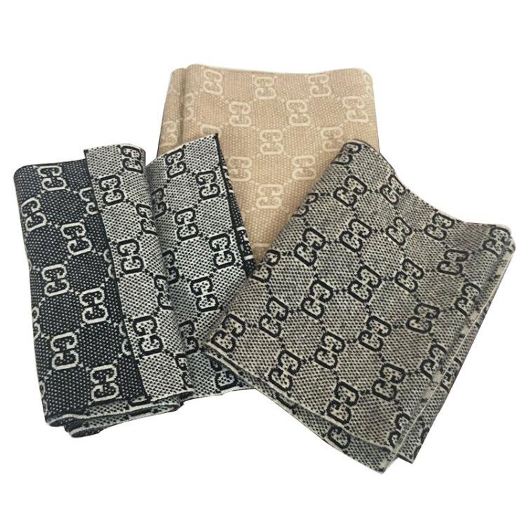 針織G提花山羊絨圍巾 加厚保暖山羊絨圍巾 羊毛羊絨圍巾披肩加厚