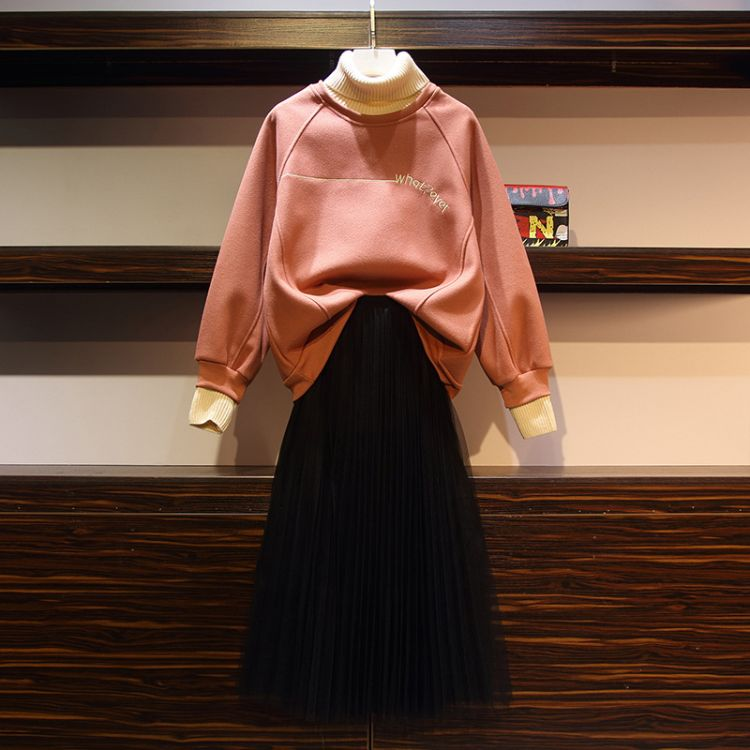 2018秋冬新款韩版加肥加大时尚减龄加厚拼色纱裙套装