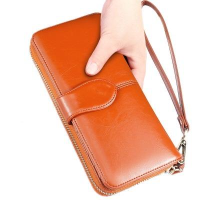女士钱包秋冬新款复古油腊皮钱包拉链搭扣手机包大容量女士手拿包