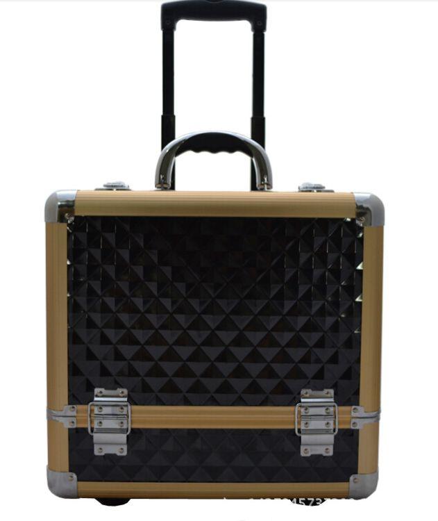 厂家供应 铝合金化妆箱专业拉杆化妆箱美容美甲工具箱拉杆箱