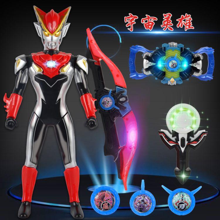 新款罗布奥特曼变身器玩具 罗布水晶DX声光螺旋奥特曼超人套装