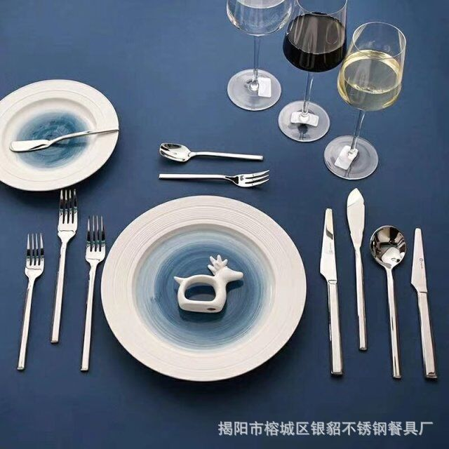 西餐刀叉代工订做德国骑士风格西餐餐具不锈钢酒店刀叉方柄质感强
