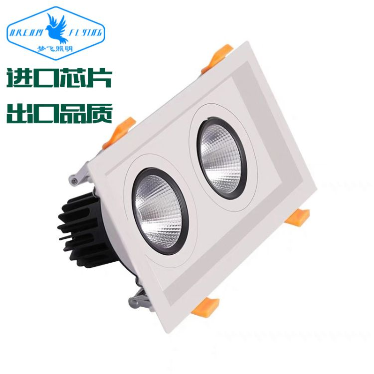 led斗胆灯双头豆胆灯COB组合射灯三头嵌入式格栅方形天花筒灯9W