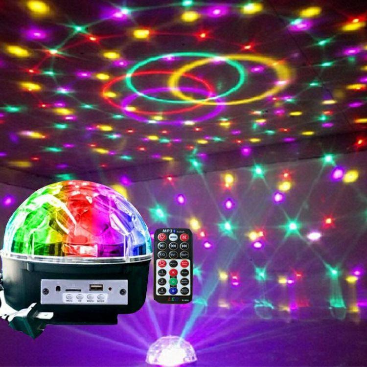 LED自转水晶魔球灯旋转舞台灯KTV效果灯音乐灯声控闪光灯
