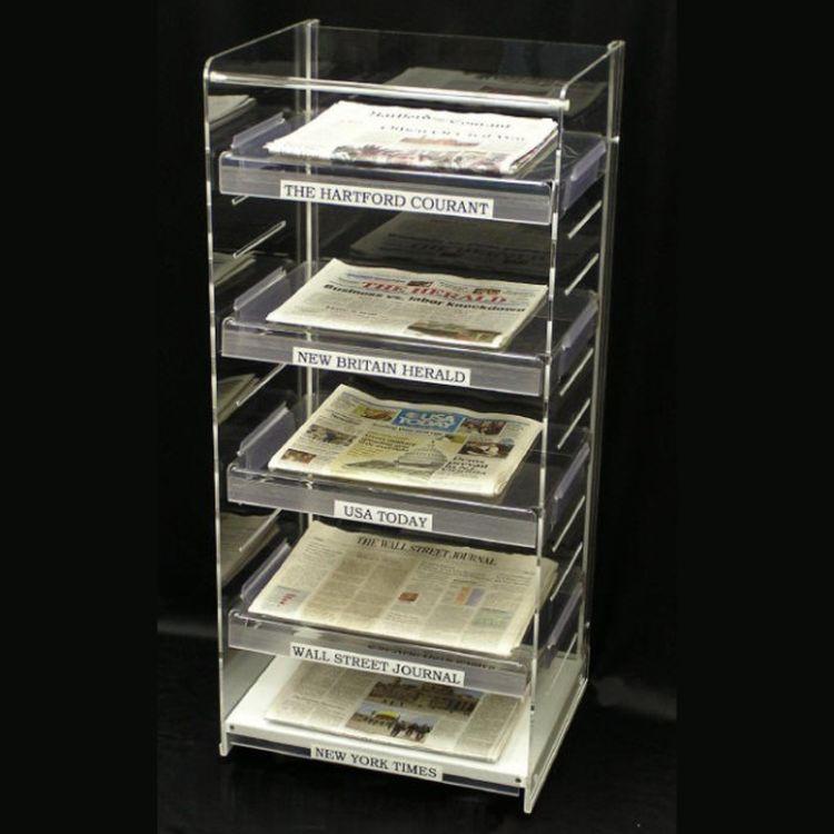 5层全透明有机玻璃报架 亚加力报刊架 多层文件架报纸收纳架
