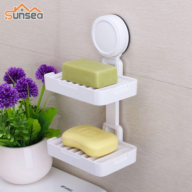 吸盘肥皂盒创意沥水香皂盒壁挂卫生间肥皂架免打孔香皂架皂托双层