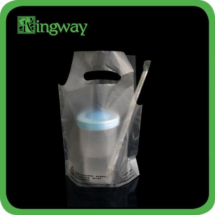 现货一次性PO磨砂压纹饮料外卖打包异形手提胶袋 定制设计LOGO