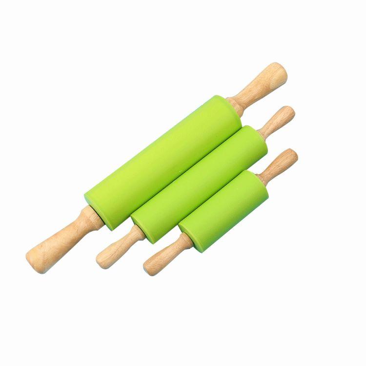 食品级硅胶擀面杖木柄滚轴可旋转不易粘饺子压面棍厂家批发可定制