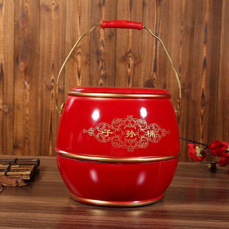 新娘陪嫁子孙桶百年好合双喜大红色木质宝桶单桶批发结婚用品批发