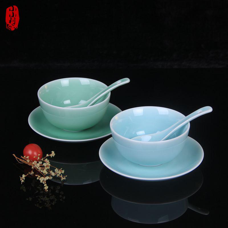 包邮龙泉青瓷三件套米饭碗骨盘小汤匙健康餐具家用陶瓷微波炉适用