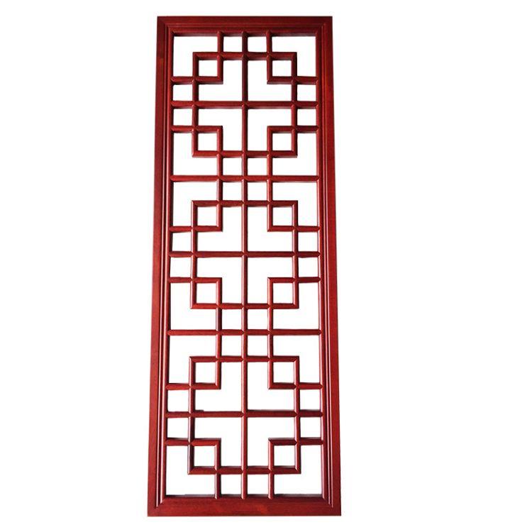 热销新款中式复古纯实木花格雕花隔断板餐厅酒店室内古典花窗定制