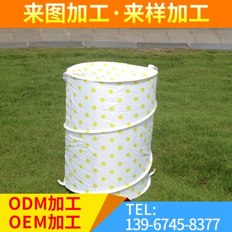 折叠弹簧脏衣桶 钢丝衣篓桶脏衣桶 户外收纳弹簧桶