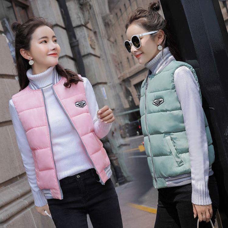 2018秋冬季新款韩版修身短款小立领棉马夹女棒球服保暖背心马甲