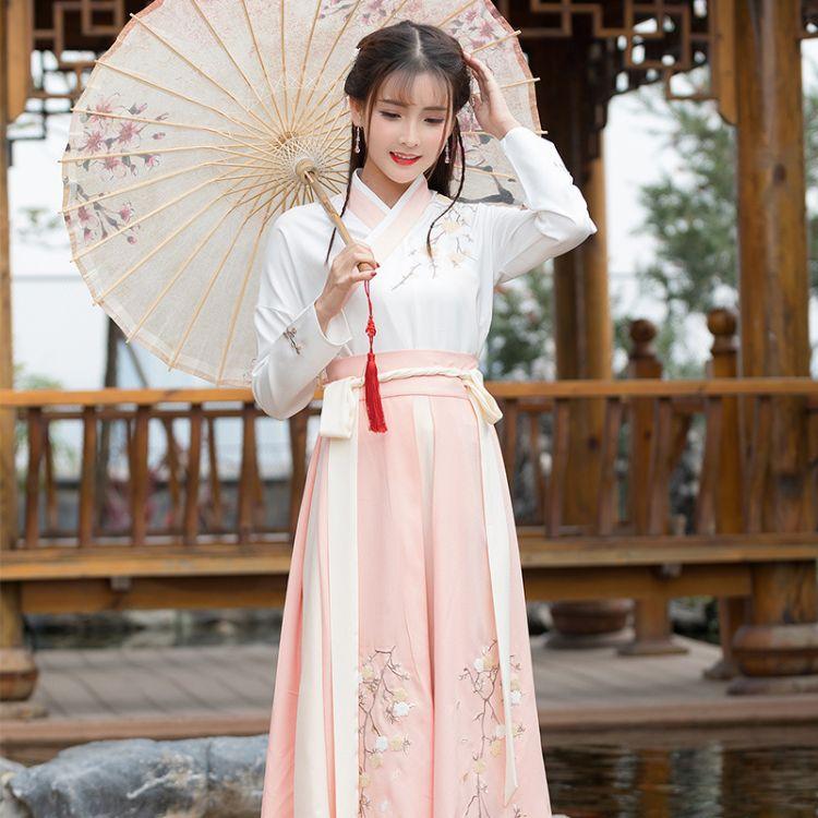 汉服女改良中国风清新女仙女飘逸古装淡雅襦裙学生古风日常装套装