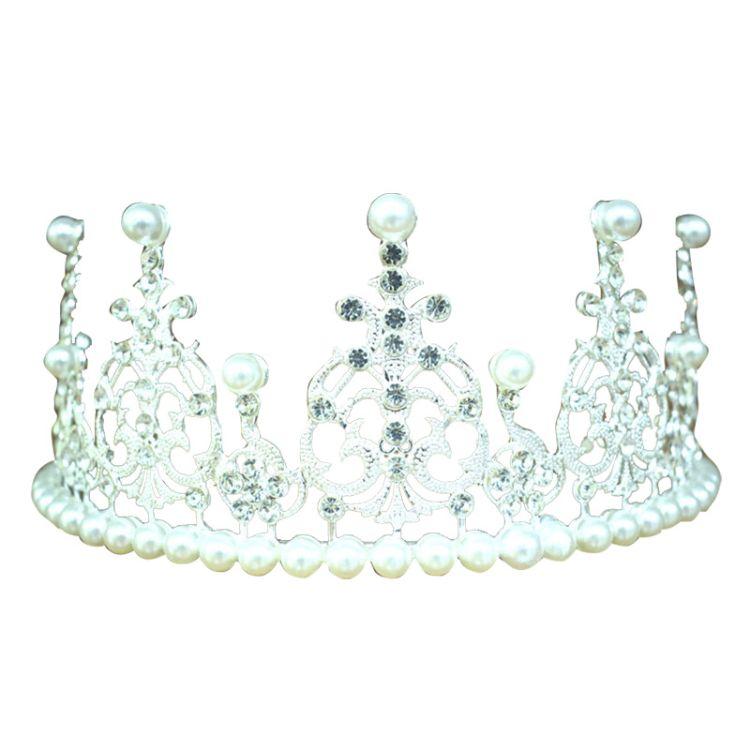 大号皇冠头饰 带珍珠蛋糕王冠 烘焙摆件生日礼物
