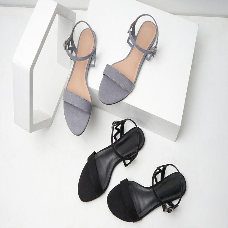 2018春夏新款凉鞋女CK1-70480053简洁纯色绒面一字带平底女凉鞋子