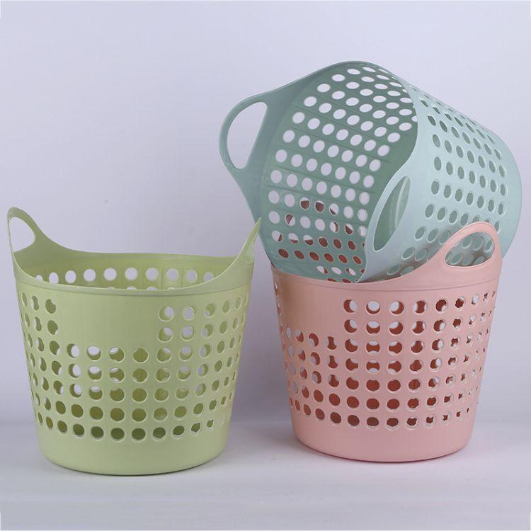 厂家直销彩色塑料脏衣收纳篮 手提镂空收纳筐 家用杂物置物篮批发