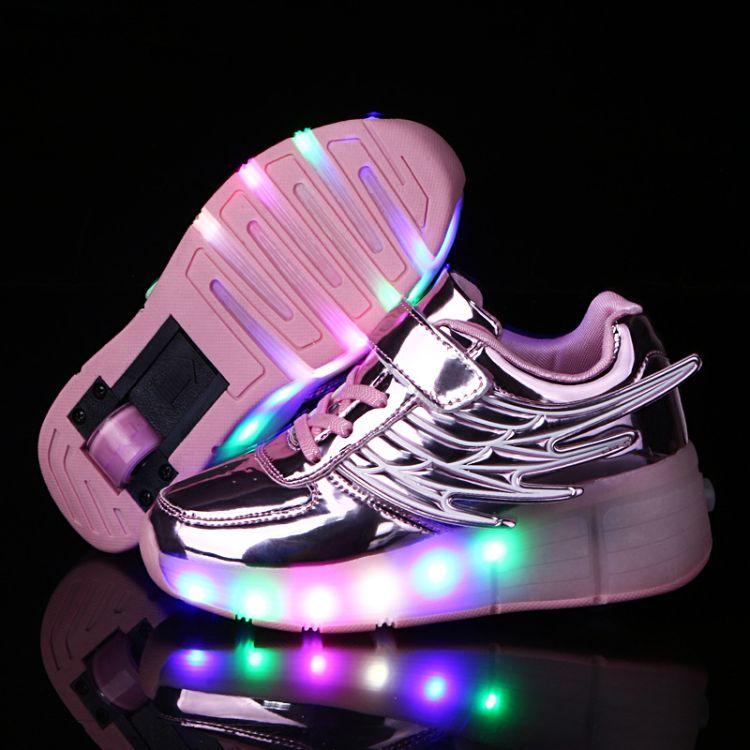 亚马逊速卖通货源发光暴走鞋单轮轮轮子鞋新款双轮轮滑鞋翅膀灯鞋