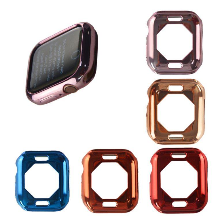 适用苹果手表4代电镀保护壳适用iWatch4代八脚边电镀软壳保护套