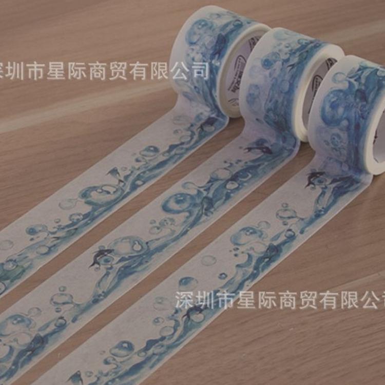 厂家批发 文艺复古和纸胶带 创意学生用手帐特殊油墨水涟和纸胶带