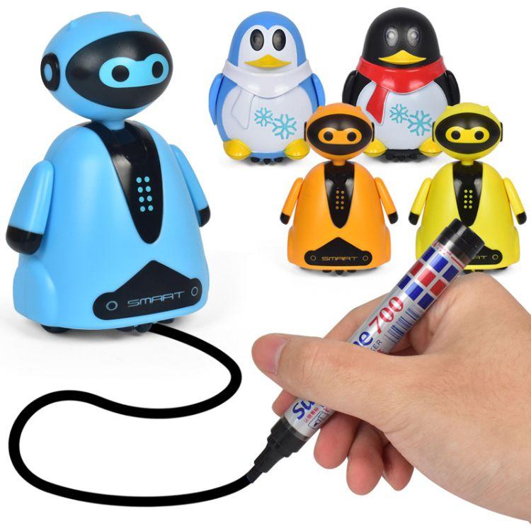 划线跟笔感应车灯光企鹅机器人 自动感应识路机器人跟笔儿童玩具