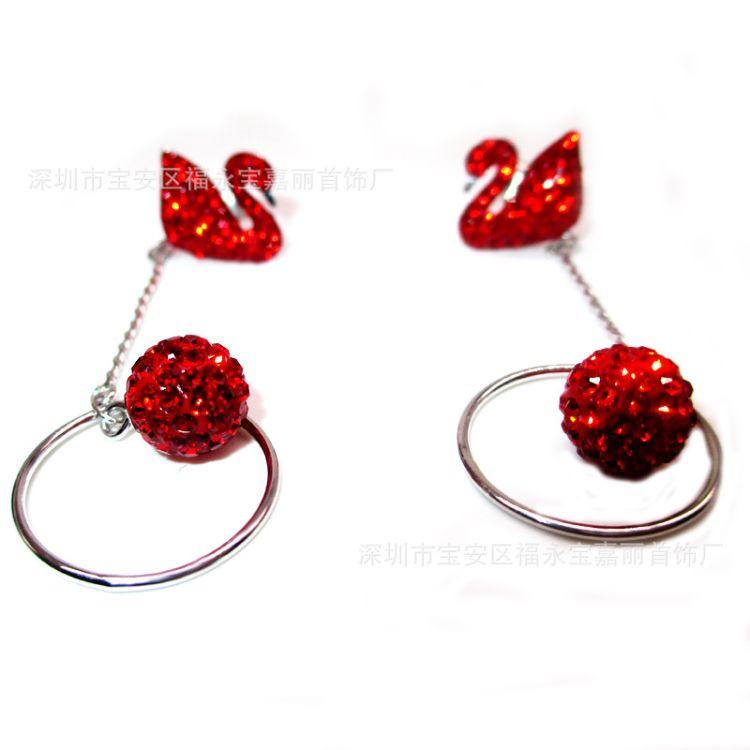 厂家直销纯银925 红天鹅耳线 圆球满钻耳钉 精工高端耳环一件代发
