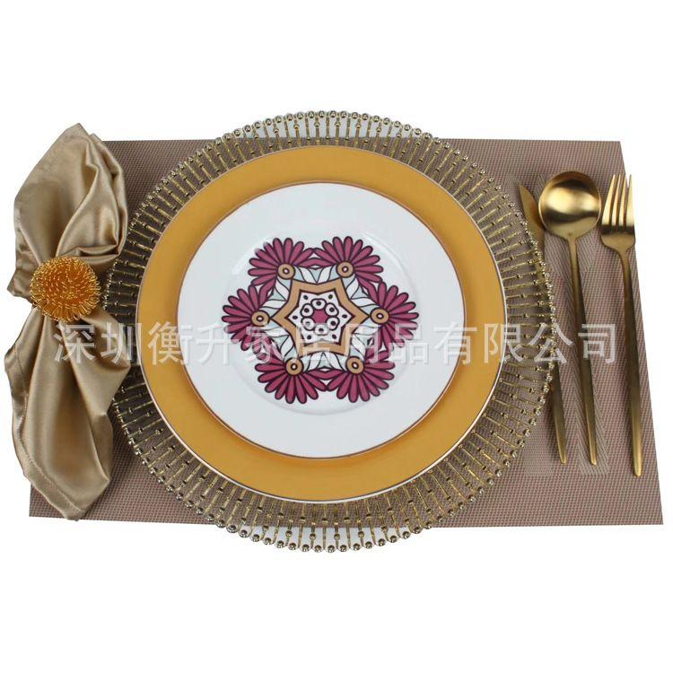美式法式餐盘 样板房  酒店高端摆台  餐桌摆盘 六边菊陶瓷西餐盘
