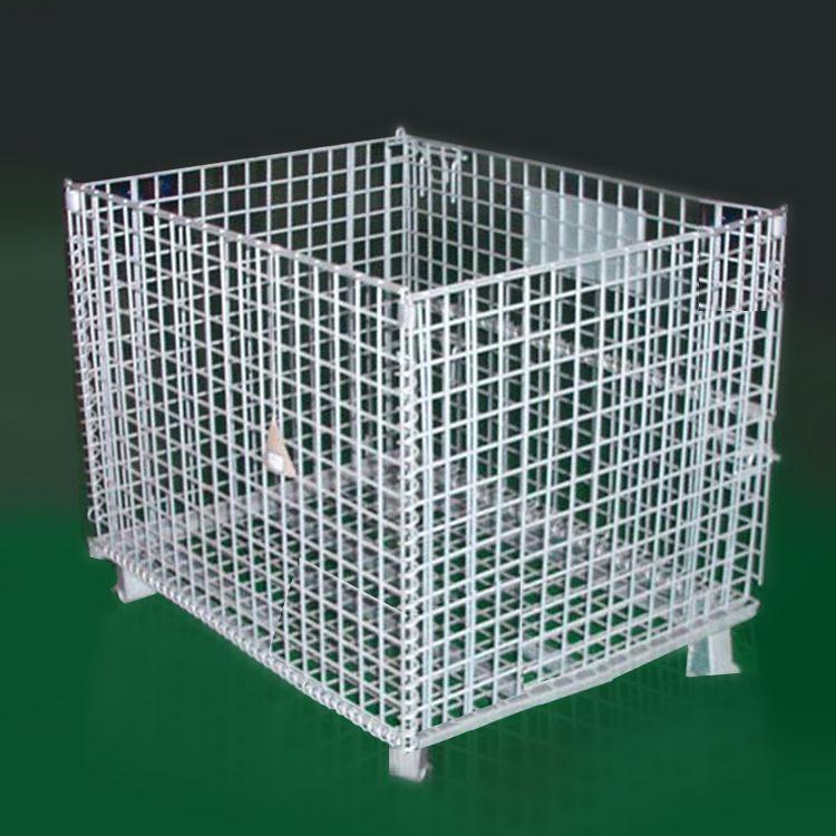 折叠式仓储笼 仓库仓储可移动可堆高加强铁丝金属周转筐厂家直销莆田