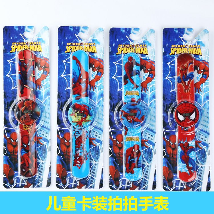 热销爆款 厂家直销3D卡通漫威蜘蛛侠系列儿童啪啪圈手表 拍拍手表