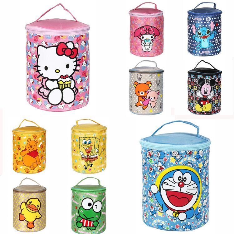 Hello Kitty卡通手提圆筒保温饭盒袋哆啦A梦铝箔冰包便当袋午餐包
