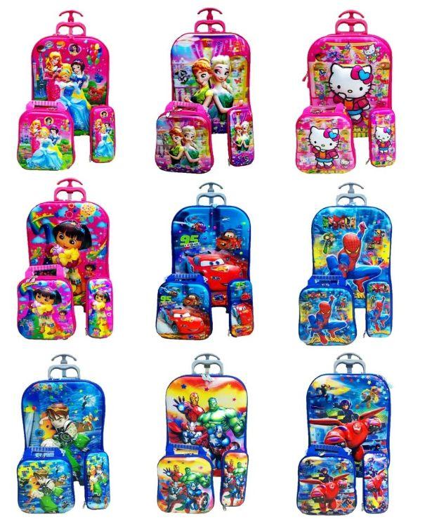 5D三件套儿童卡通旅行拉杆箱宝宝行李箱登机箱小学生硬壳书包3件