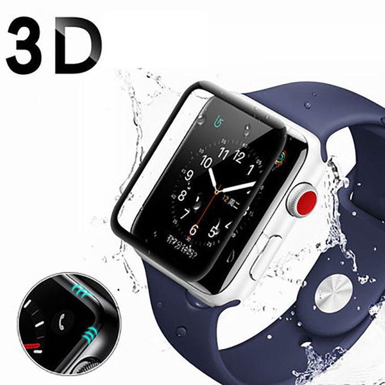 适用于iWatch4 40mm曲面全屏手表钢化膜 iWatch4 44mm3D全屏覆盖