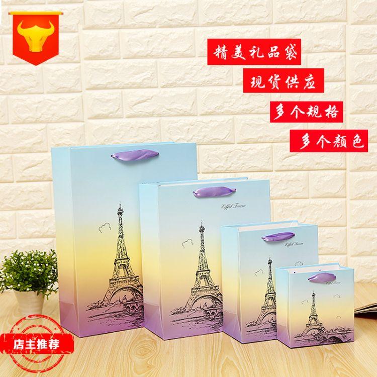 2018新款巴黎铁塔花纹手提袋 现货厂家供应彩色包装手提袋批发