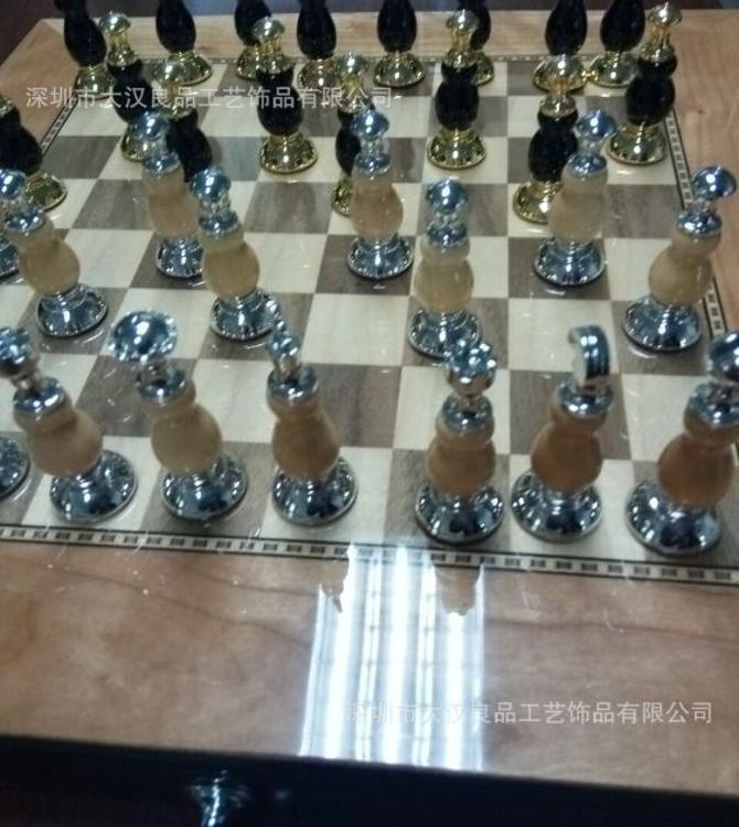 金属高端国际象棋 双色电镀 高大尚加高端实木棋盘国际象棋 金属